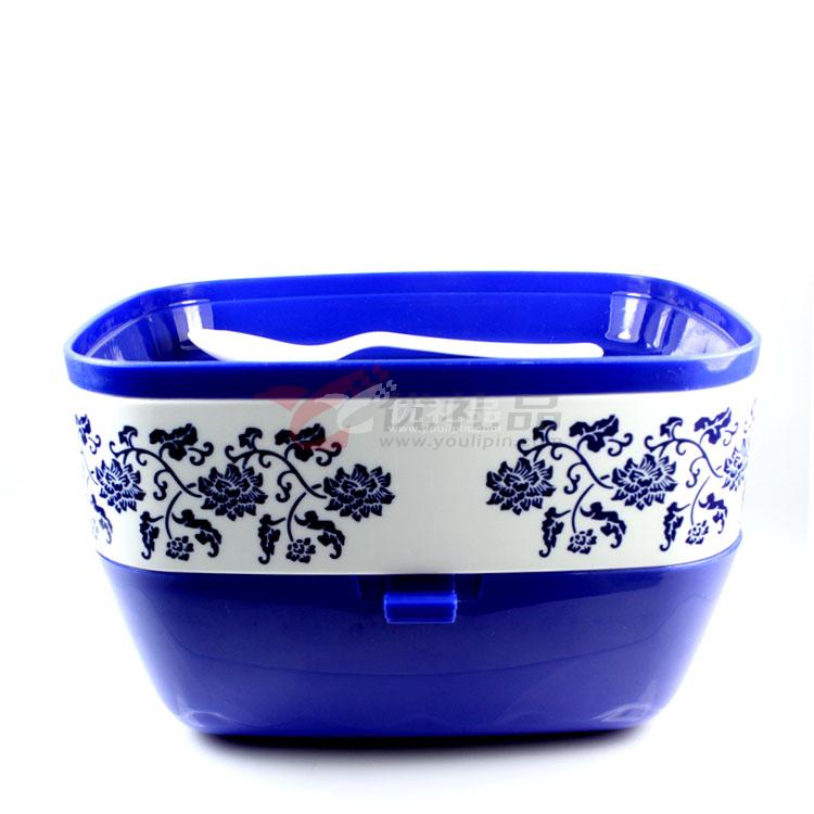 :青花瓷長方形雙層手提飯盒