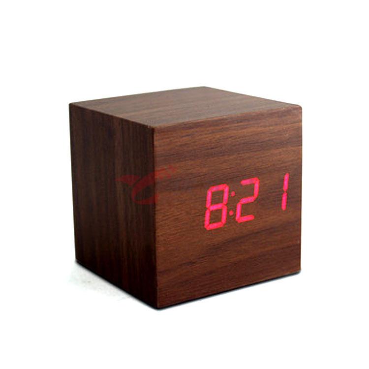 紅燈 迷你木頭聲控感應鬧鐘 LED鐘 創意禮品