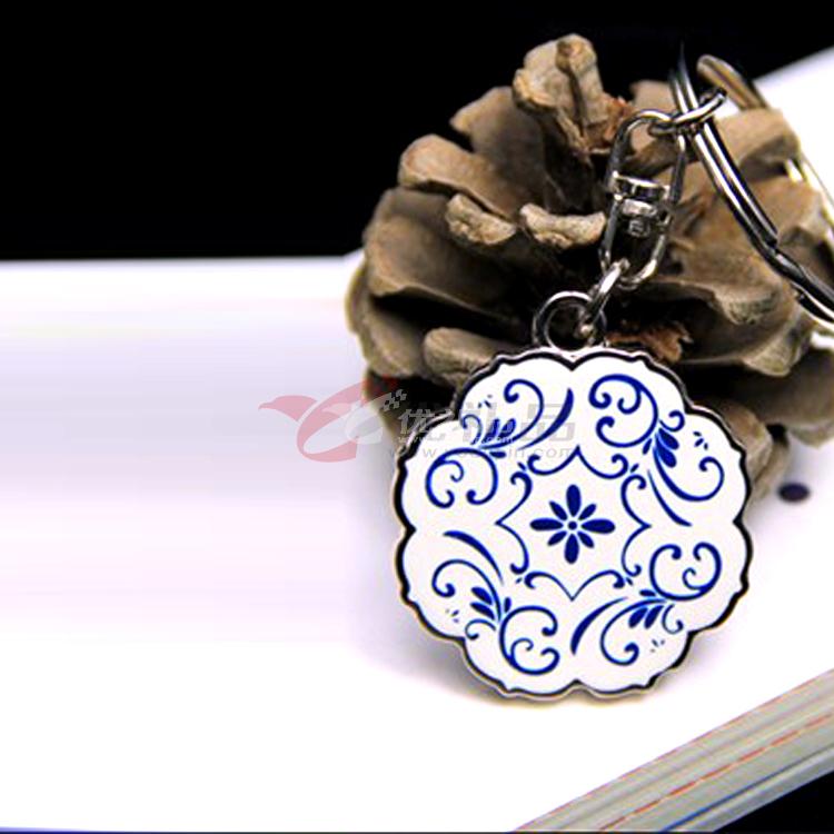 中国风青花瓷钥匙扣创意钥匙链