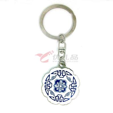 中國風青花福鑰匙扣創意鑰匙鏈