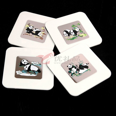 中国风熊猫六片杯垫 创意礼品 可加LOGO