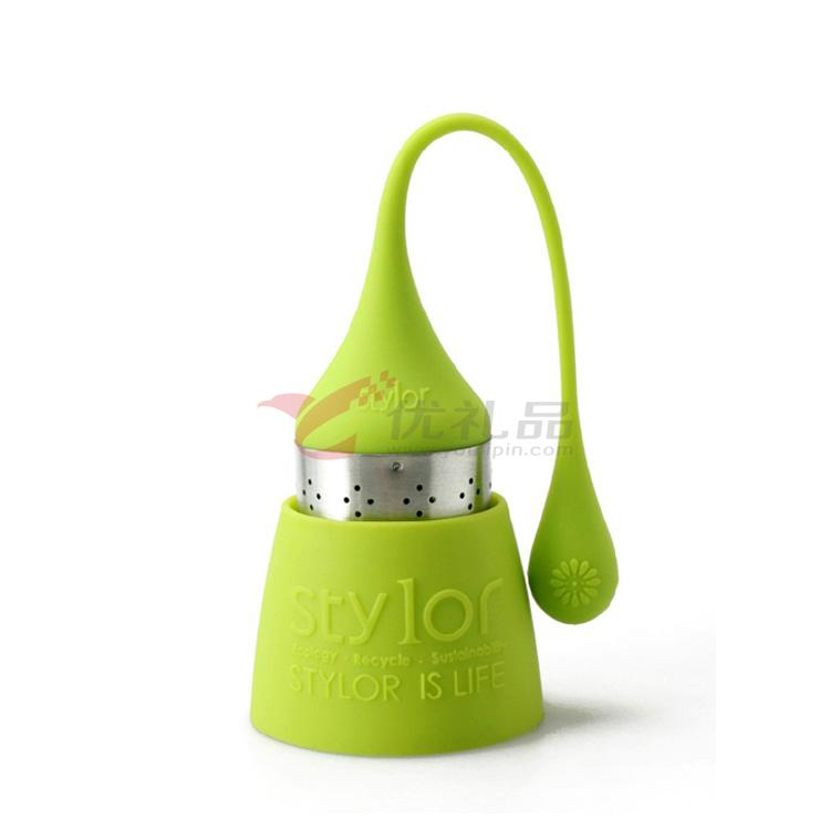 Stylor/法国花色 硅胶茶具 多色茶滤 家用水滴茶包 欧式风格