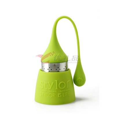 Stylor/法國花色 硅膠茶具 多色茶濾 家用水滴茶包 歐式風格