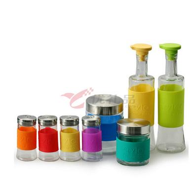 Stylor/法國花色 創意廚房玻璃調味瓶套裝 個性調味器皿 八件套
