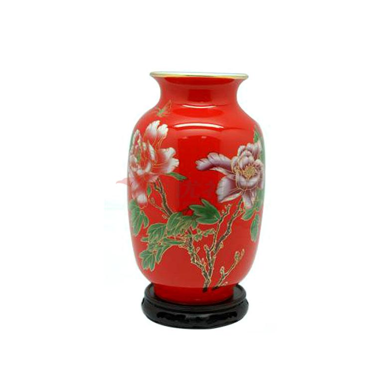 中國紅瓷冬瓜瓶