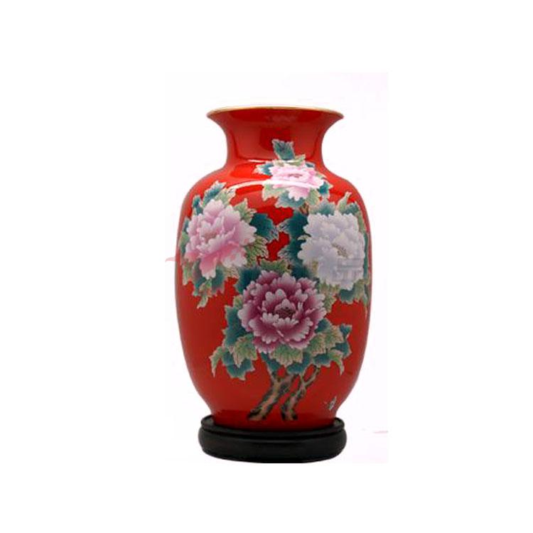 花開富貴魚尾瓶(花瓶)-中國紅瓷工藝禮品瓷器