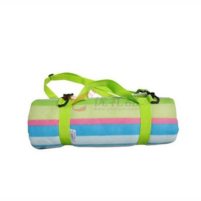 領路者綠色條紋野餐地毯/野餐墊/野營坐墊