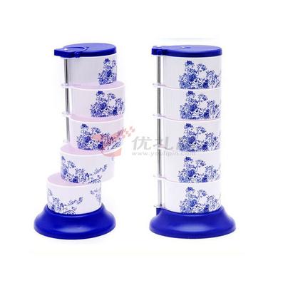 圆形青花调味盒