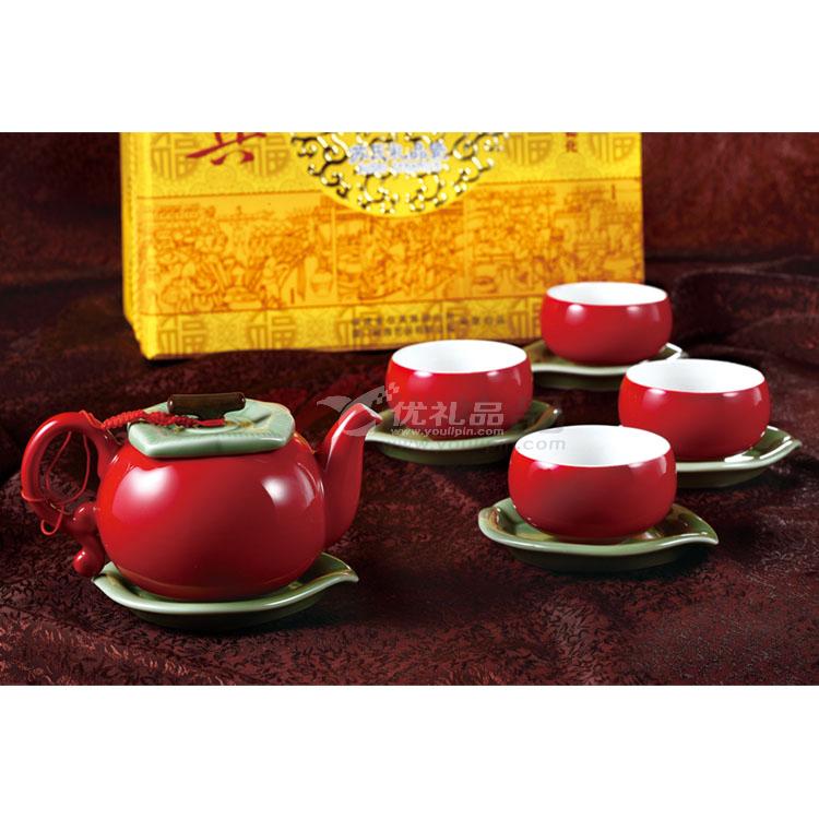 11頭蘋果茶具組-紅綠釉