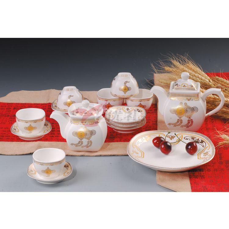 亞光白釉吉祥如意中號方形壺方形杯配盤碟17頭茶具組具組