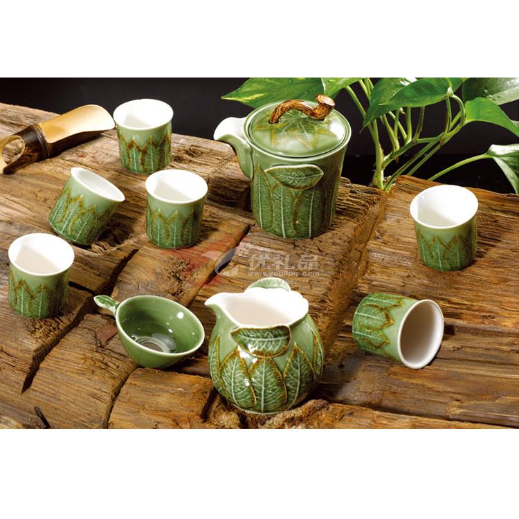 新綠釉浮雕葉直如意壺直身杯10頭茶具組