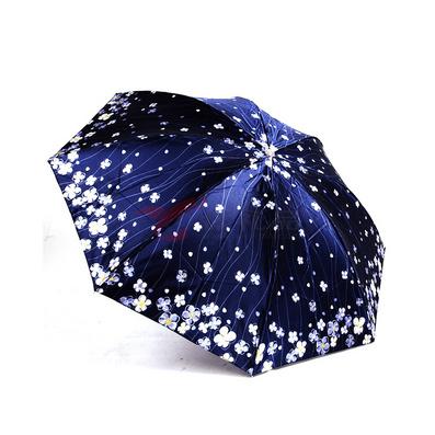 高密印花聚酯色丁韩版钢骨防紫外线遮阳三折天堂伞