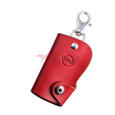 长款搭扣红色真皮钥匙包
