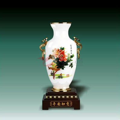琉璃玉 小平安如意彩花瓶摆件