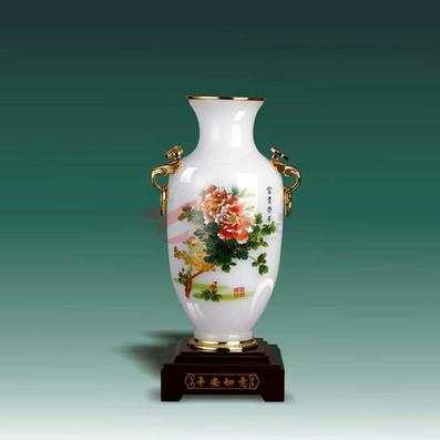 琉璃玉 大平安如意彩花瓶摆件