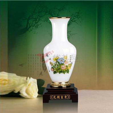 琉璃玉 花開富貴瓶 擺件
