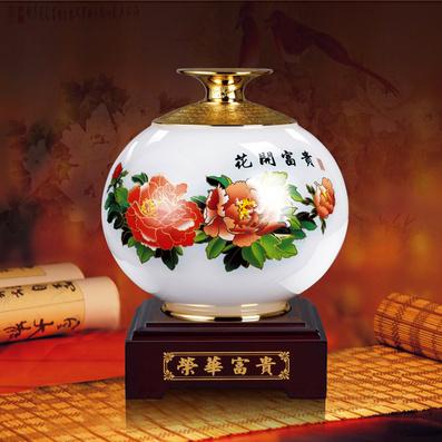 琉璃玉 荣华富贵/彩花瓶