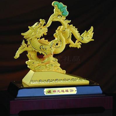 絨沙金工藝品2012龍年瑞龍送福(小號)