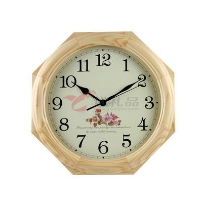 實木掛鐘 16寸八角鐘 歐式田園鐘 客廳靜音鐘表 鐘表 電子鐘