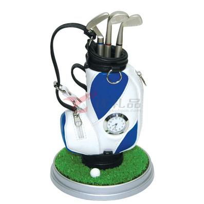 高爾夫筆袋/筆筒套裝(帶草坪、鐘表)