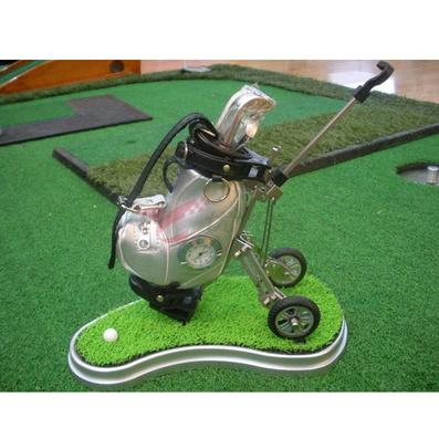 高尔夫拉车笔袋/笔筒套装(带草坪、钟表)