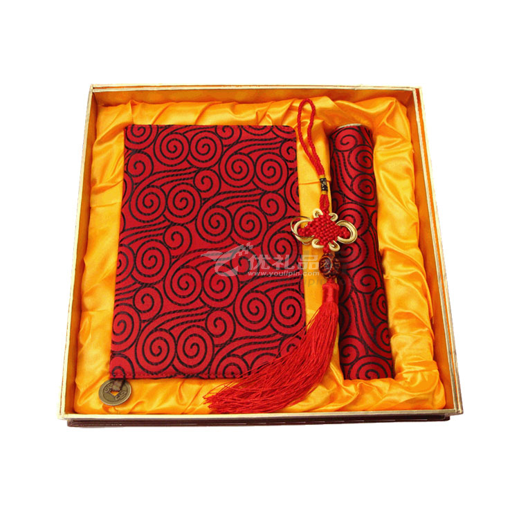 絲綢膠裝筆記本鼠標墊套裝