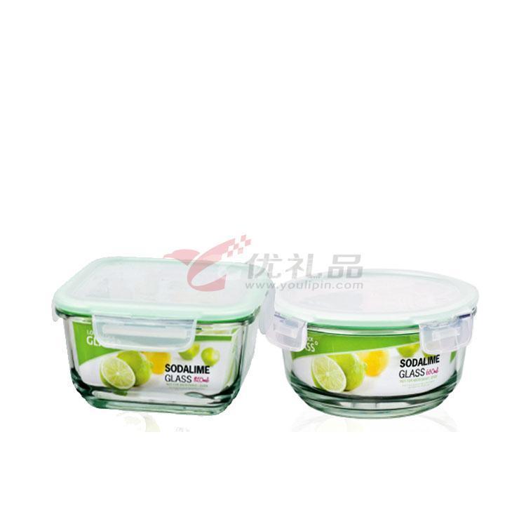 樂扣樂扣一般玻璃兩入保鮮盒禮盒(大圓形+方形)