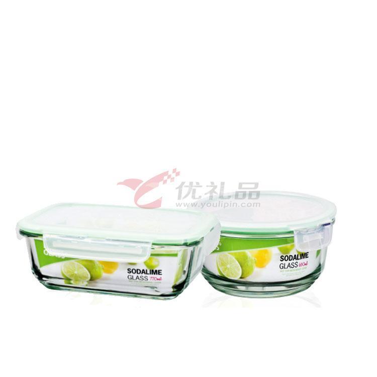 樂扣樂扣一般玻璃兩入保鮮盒禮盒(大圓形+長方形)