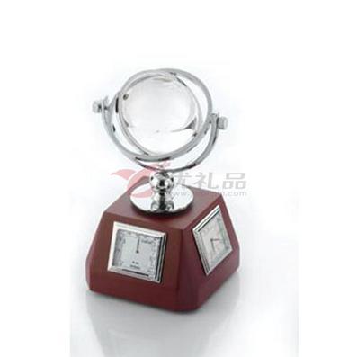 办公桌摆件/带地球仪、方形石英表、温度表