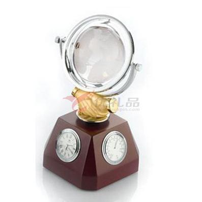 办公桌携手共赢摆件/带地球仪、圆形石英表、温度表