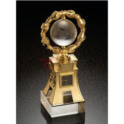 辦公桌擺件/眾志成城金色石英表獎杯