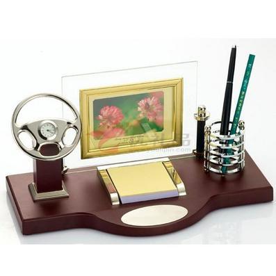 办公室摆件/多功能笔筒/带方向盘、便贴纸、相框