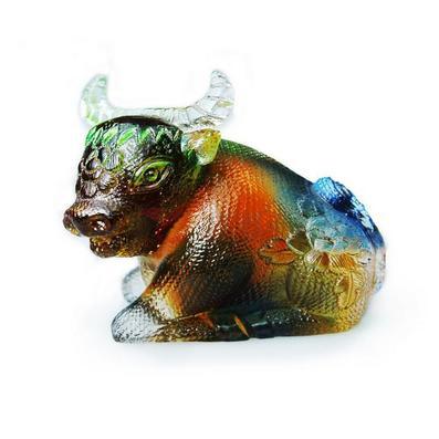 夏氏琉璃工藝禮品生肖擺件牛