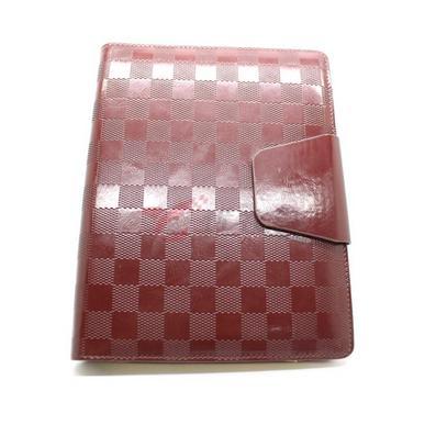 棕色格子PU笔记本定制