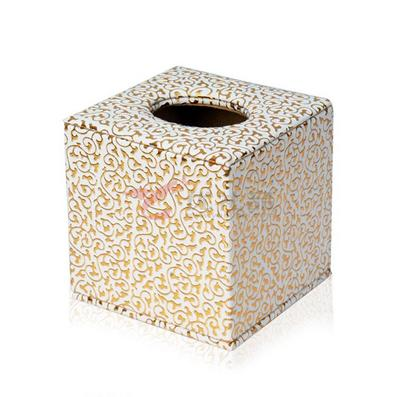白底金花鳳爪紋皮質紙巾盒 正方形抽紙盒 車用 酒店客房 禮品 定制
