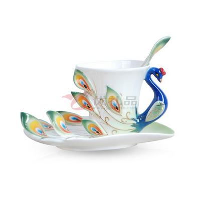 咖啡杯-孔雀单杯碟