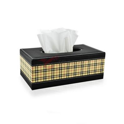 英倫風拼皮格子皮質紙巾盒 長正方形拼接抽紙盒 車用 禮品定制