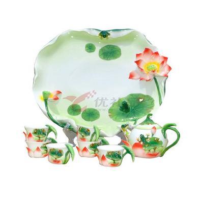 荷塘月色----8頭琺瑯瓷茶具