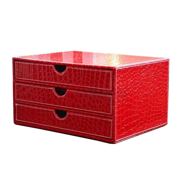高档皮质文件柜横三抽柜 办公桌面收纳抽屉文件柜定制