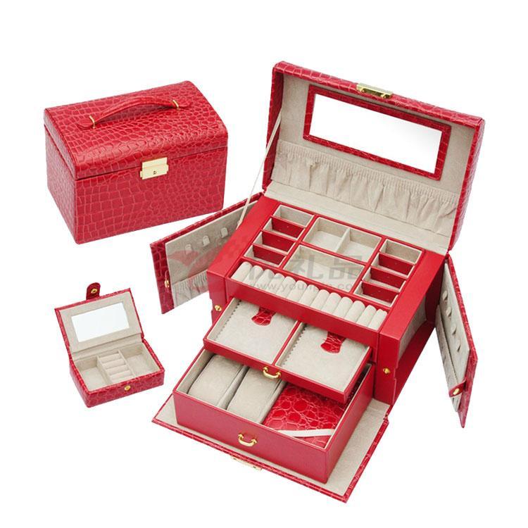 高档鳄鱼皮纹多功能首饰盒 欧式皮质四层化妆盒定制