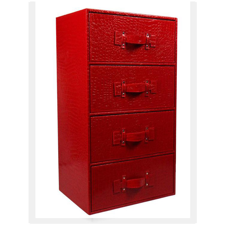 高档皮质正四抽屉式收纳床头柜 时尚四层储物 创意斗柜定制