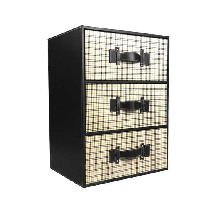 时尚现代皮质三层抽屉柜 高档鞋柜收纳柜 宝宝衣柜 储物柜定制