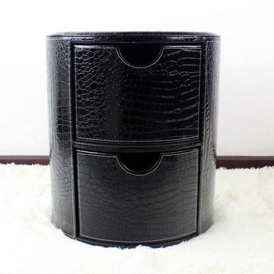 歐式皮質圓二抽收納凳 抽屜收納 床頭柜儲物柜定制
