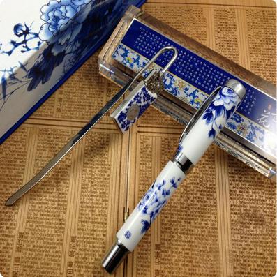 中國古典禮品|青花瓷筆套裝|青花瓷鎮尺|書簽|新品上市