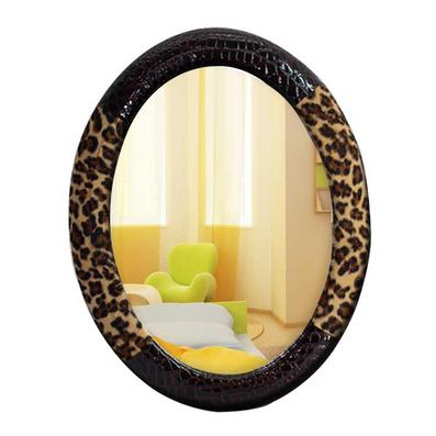 豹紋高檔皮革化妝鏡 公主梳妝鏡臺鏡 特大號浴室鏡定制
