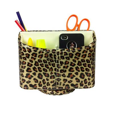 豹紋皮革遙控器盒收納盒 儲物架籃 化妝盒手機座定制