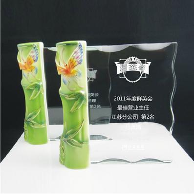 瓷竹水晶奖牌
