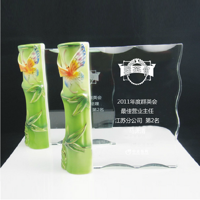瓷竹水晶獎牌