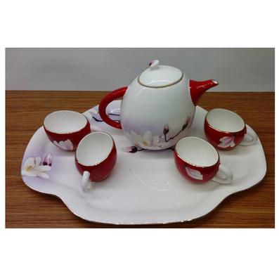 定制6頭qq蛋形壺妙筆生花(紅)茶具