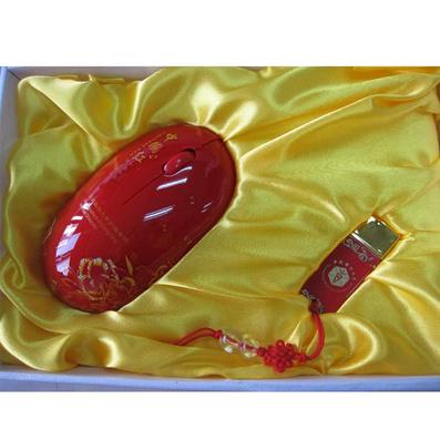 中國紅2件套裝 鼠標+U盤定制